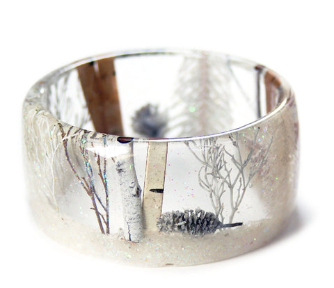 Magical Winter Forest Resin Bracelet