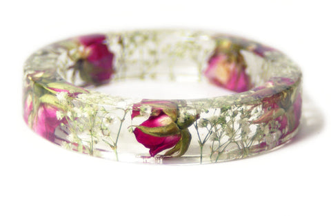 Pink Rose Bouquet Resin Bracelet