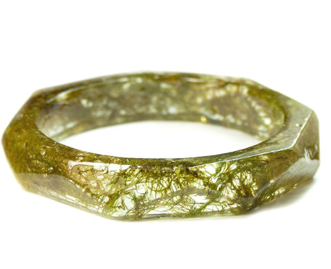 Faceted Forest Moss Bracelet