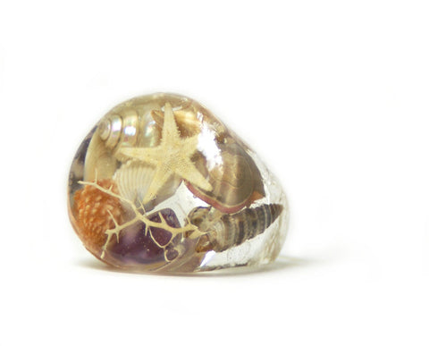 Ocean Seashell Ring, Sizes 5-9