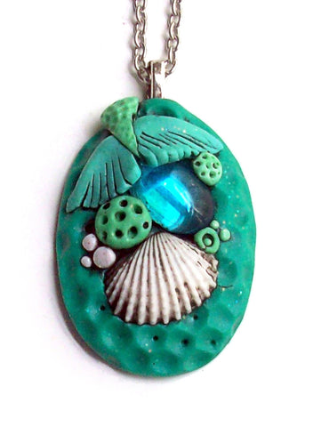 Mermaid Tail Pendant with Aqua Cabochon