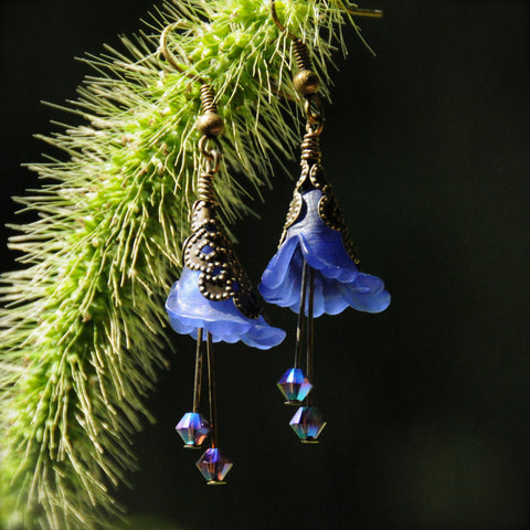 Midnight Blue Butterfly Flower Earrings