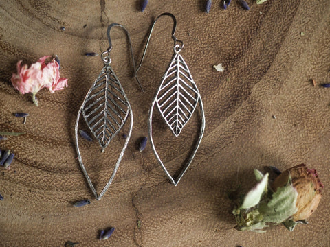 Large Open Marquis Organic Root Wire Earrings
