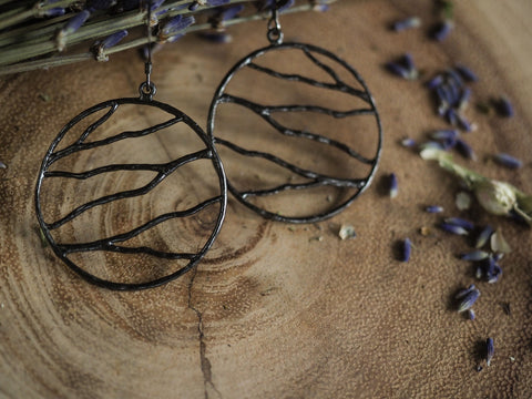 Round Organic Branch Wire Earrings