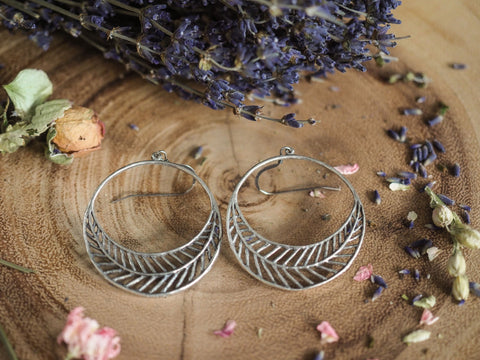 Large Filigree Hoop Earrings in Antique Silver