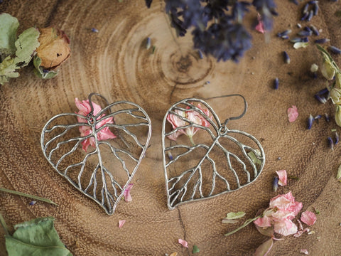 Heart Shaped Organic Leaf Earrings