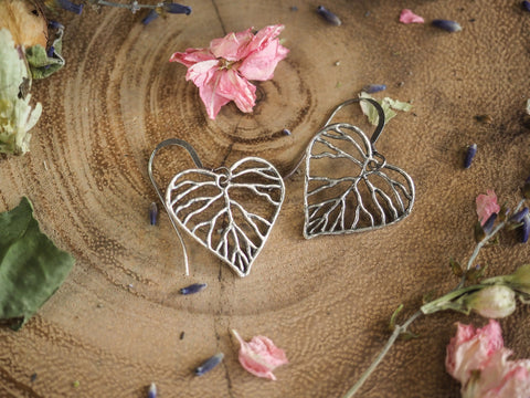Petite Branch Heart Earrings