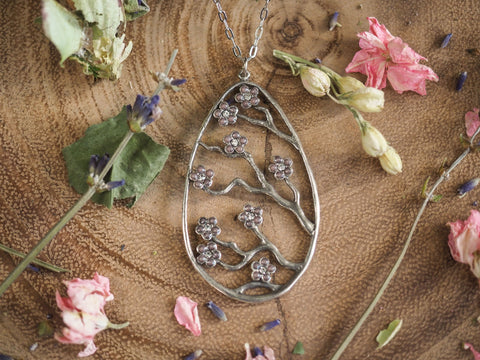Pear Shaped Pendant with Flowers and Crystals