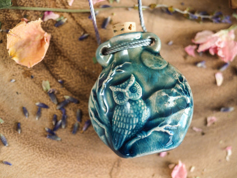 Raku Owl Bottle with Cork