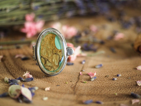 Mushroom Bark Locket Ring