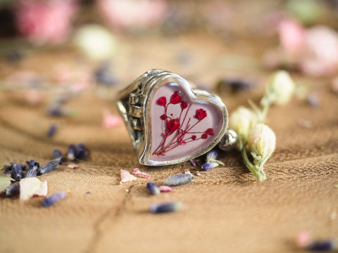 Pink Baby's Breath Heart Locket Ring