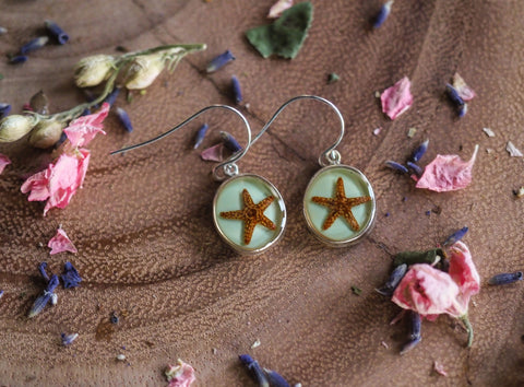 Starfish Round Pendant Earrings