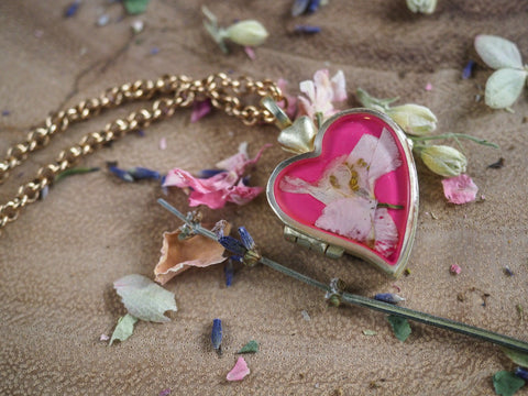 Larkspur Heart Locket in Antique Gold