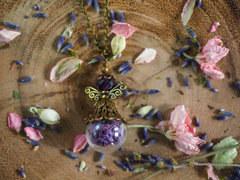 Lavender faerie necklace by the vintage angel for Stardust purple bath collection