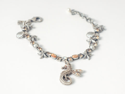 Sweet Winged Seahorse Bracelet - Champagne Crystals