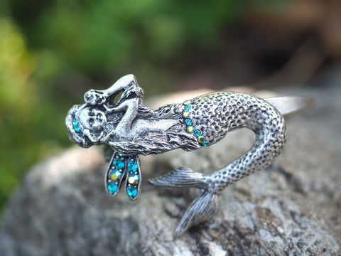 Winged Mermaid Cuff -- Turquoise
