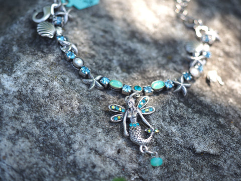Starfish Bracelet with Mermaid Charm