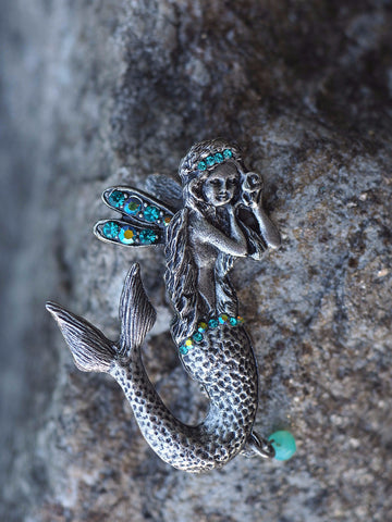 Winged Mermaid Pin -- Turquoise