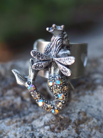 Winged Mermaid Ring -- Champagne