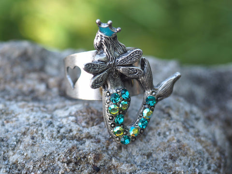Winged Mermaid with Crown Ring -- Turquoise