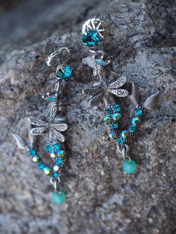 Mermaid Wings Post Earrings -- Turquoise