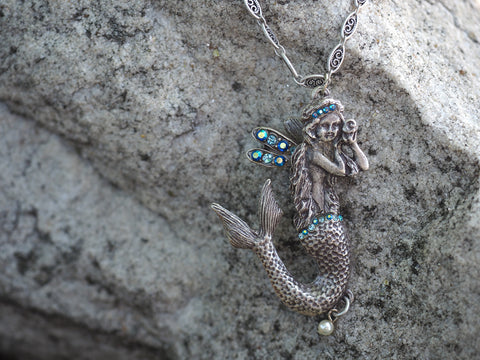 Under The Sea Winged Mermaid Necklace -- Turquoise