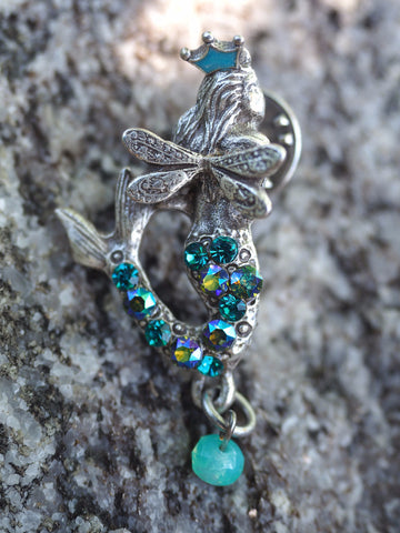 Pave Crowned Mermaid Pin -- Turquoise