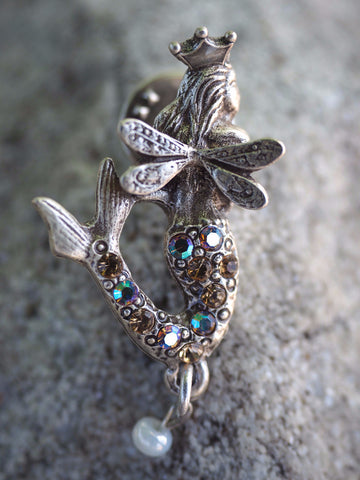 Pave Crowned Mermaid Pin -- Champagne