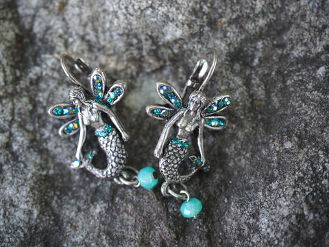 Mermaid Wings Leverback Earrings -- Turquoise