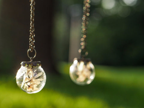 Dried White Flower Orb Necklace