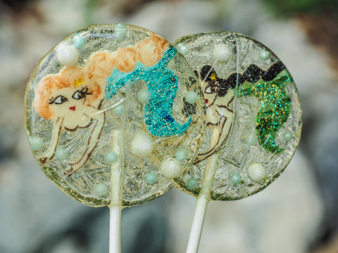 Glittering Light-Haired Mermaid Lollipop (One)