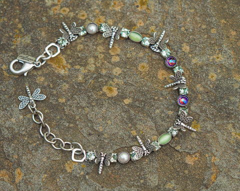 Purple and Green Dragonfly Bracelet