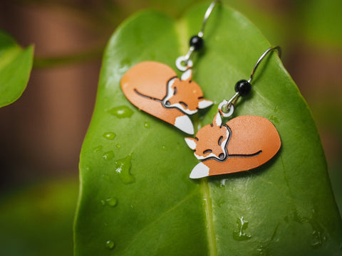 Curled-Up Fox - Whimsical Hand Painted Copper Earrings