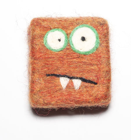 Felted Soap Monster in Orange