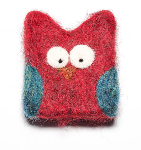 Felted OWL Soap in Red!