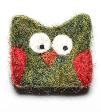 Felted OWL Soap in Green