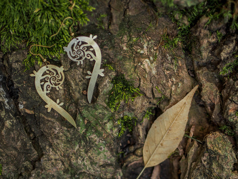 Fiddlehead Fern Half Heart Earrings