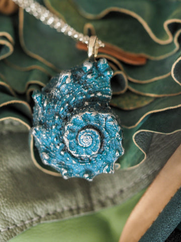 Large Cerulean Blue Shell Pendant