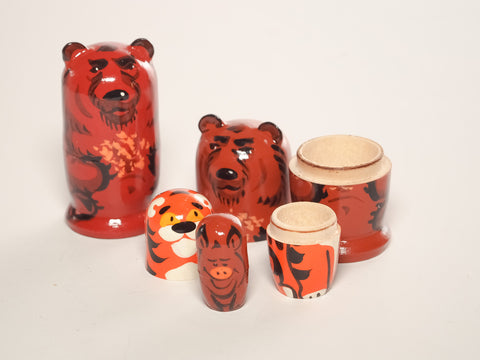 Woodsy Nesting Dolls - Bear, Tiger, Pig, Dog and Fox