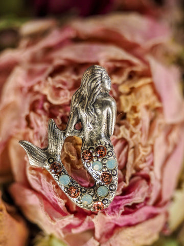 Mermaid Pin - Pink and White Crystals