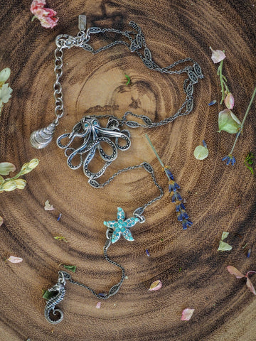 Octopus and Starfish Y Necklace