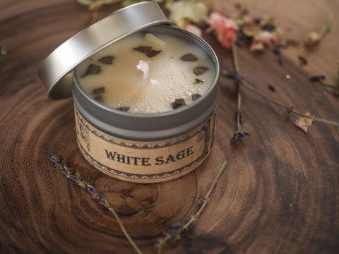 White Sage Botanical Travel Tin Candle