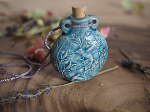 Raku Hummingbird Bottle with Cork