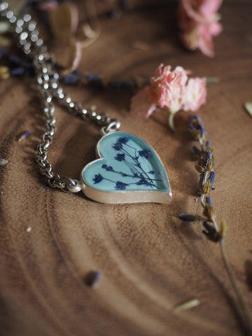 Baby's Breath Blue Heart Necklace