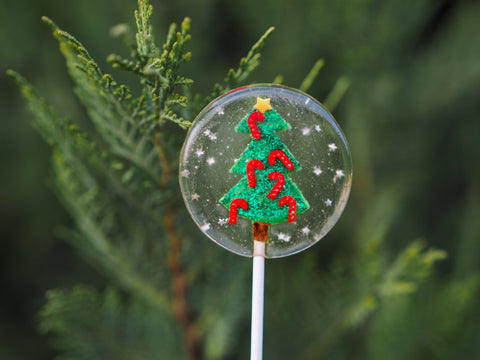 Christmas Tree & Candy Cane Lolliops (One)