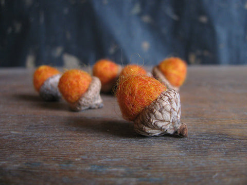 Felted Wool Acorns - Pumpkin Orange