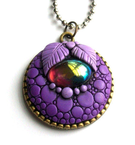 Purple Dragon Pendant with Amethyst Cabochon