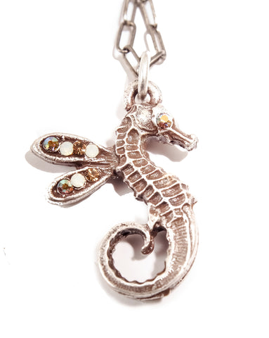 Sweet Winged Seahorse Pendant - Champagne Crystals