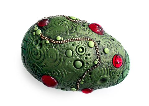 Green Dragon Egg with Red Gems