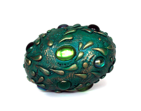 Teal Dragon Egg with Green Gems